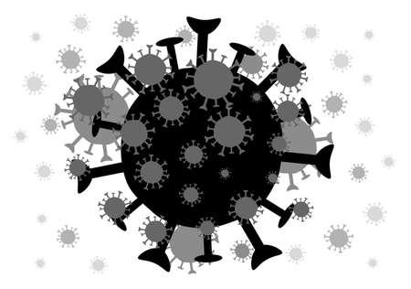 Black coronavirus on isolated of white background.