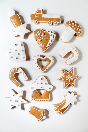 gingerbread cookie: Christmas gingerbread on white background