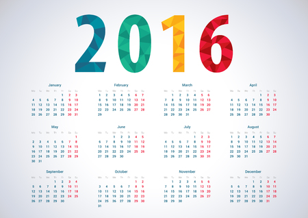calendrier: 2016 europ�enne calendrier vecteur de l'ann�e.