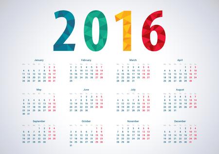 kalendarz: 2016 Europejski kalendarz roku wektorowych.