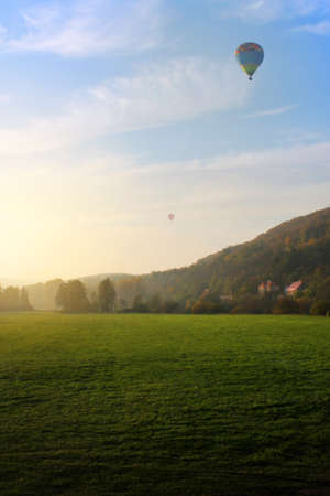 air baloon: Air baloon over field, Czech Republic