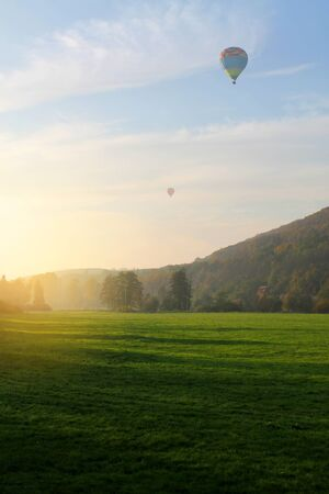 and the air: Air baloon over field, Czech Republic