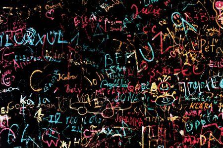 graffito: Black graffiti wall urban background, Czech Republic