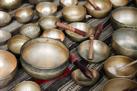 singing bowls: Singing tibet bowl - cup of life Stock Photo