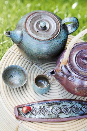 tradition: Tradition oriental ceramic tea set Stock Photo
