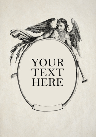 Illustration of angel with frame in old book
