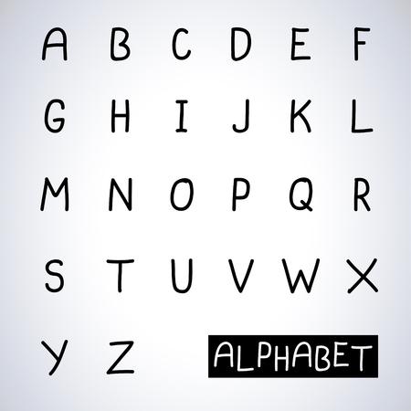 alfabet: Black hand drawn alphabet
