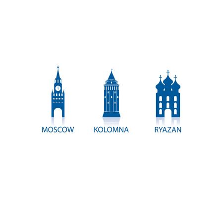 moscow: Moscow, Kolomna, Ryazan (Towns Icons Set)