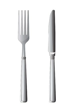 silver: silver fork and knife