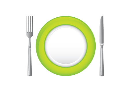 silver ware: Green plate with knife and fork.