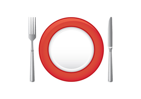 Red plate with knife and fork. Illustration