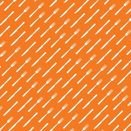 lunch room: Fork and knife orange background. illustration