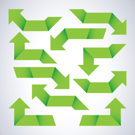 green arrows: Set of green arrows Illustration