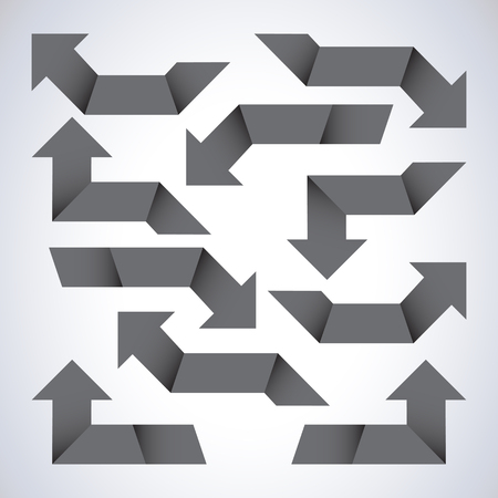 diminishing point: Set of gray arrows Illustration