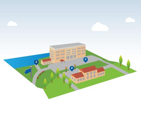 mapa isométrica - Ilustración (isométricos paisajes con edificios de la ciudad, parques, lagos y ríos).