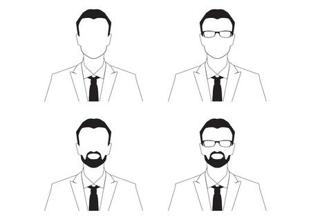 director de escuela: ilustración vectorial silueta del hombre (foto de pasaporte)