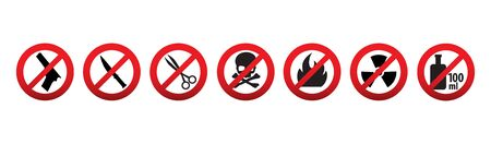 Prohibition icons. Items not allowed to carry in hand baggage