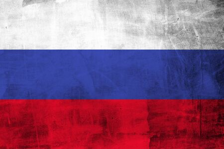 Grunge Russian flag on concrete wall