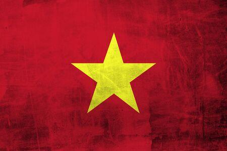 vietnam flag: Grunge Vietnam Flag on the concrete wall