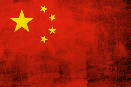 Grunge national flag of China on the concrete wall Stock Photo