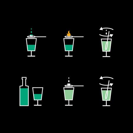 mingle: Preparation of absinthe liqueur on black background (preparation scheme)