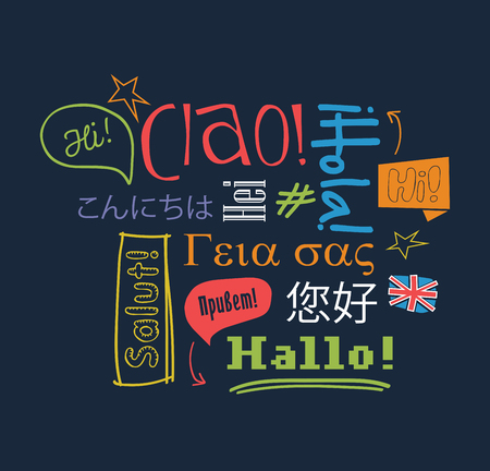 different courses: Hello in different languages. Vector illustration. Illustration
