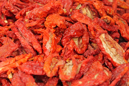 desiccated: Dried tomatoes background.