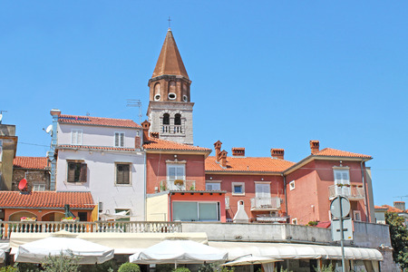 architecture monumental: View of the center of old city Zadar. Croatia, Northern Dalmatia. Ancient tower of Sime church