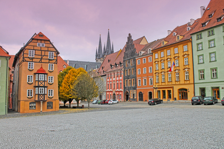 Group of medieval houses on the main market square in Cheb, Czech republic. Half-timbered houses. Stock Photo