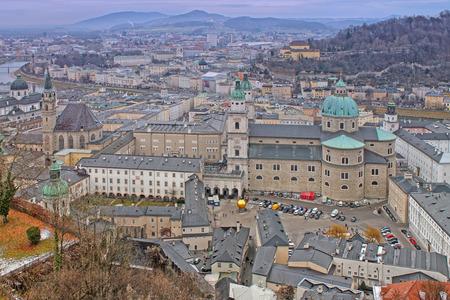 salzach: View from Hohensalzburg Castle. Salzburg, Austria. Church of St. Peters Abbey and Benedectine Monastery. December 2016.