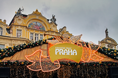 prague christmas market on old town square in prague czech republic europe december
