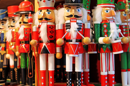 Christmas decoration - nutcrackers for sale on advent market. Austria, Salzburg.