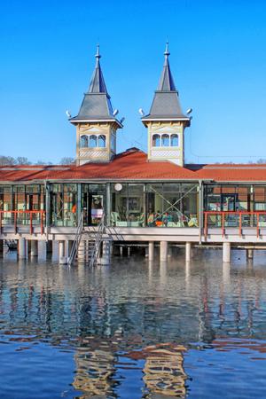 Popular balneal resort. Heviz Spa. Lake Heviz, Hungary. December 2016.