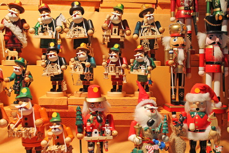 Colorful smokers and nutcrackers at a traditional Christmas market in Rothenburg, Germany. Stock Photo