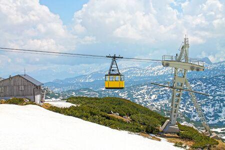 View of cable railway. Krippenstein mount, Dachstein, Obertraun, Austria.