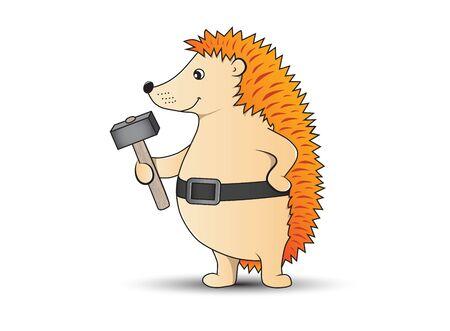 Vector illustration of funny hedgehog holding a hammer. 矢量图像