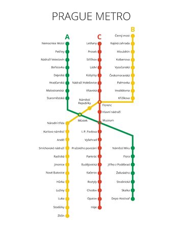 Prague Public Transport Scheme. Vector subway map.
