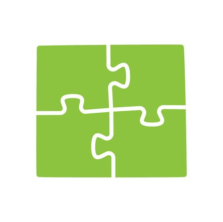 Vector illustration of four green puzzle pieces. 矢量图像