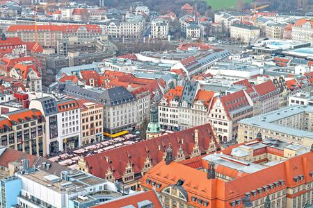 Aerial view of the center city of Leipzig with Market Place, Old City Hall and traditional christmas market. December 23, 2019 year. 新闻类图片