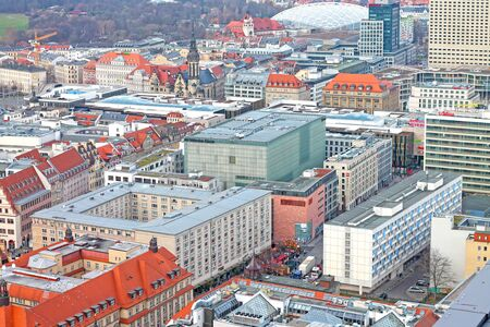 Aerial view of the center city of Leipzig (Zoo, Evangelical Reformed Church and the Museum of Fine Arts). December 24, 2019. Saxony. Germany
