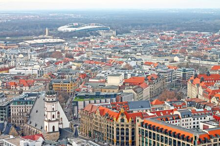 Aerial view of the history center city of Leipzig with St. Thomas's Church (Thomaskirche), Commerzbank and central stadium. View from Neues Rathaus. December 23, 2019 year.