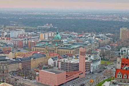 Aerial view of modern propstei church, High Court in Leipzig. December 24, 2019. Leipzig, Saxony, Germany 新闻类图片