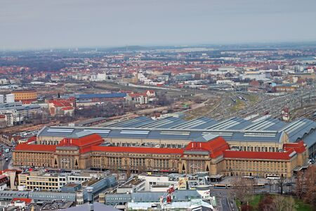 Aerial view of Leipzig central train station. December 24, 2019. Germany Saxony.