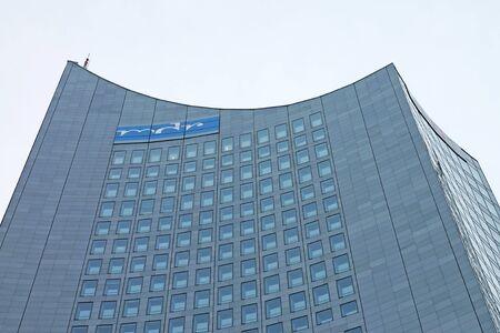 City-Hochhaus building - 36-storey skyscraper in Leipzig, Germany, Europe. December 2019 新闻类图片