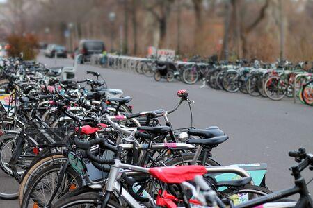 View of bicycle parking in Leipzig. Germany December 24, 2019