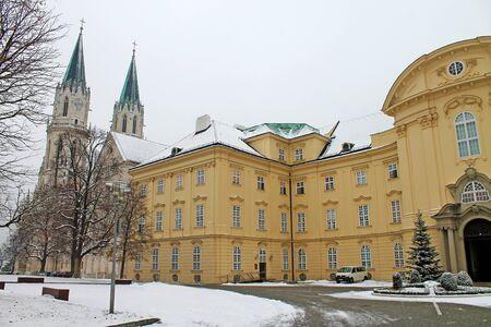 View of Klosterneuburg Augustinian Monastery close up. Austria.