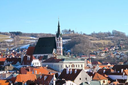 View of Saint Vitus cathedral in Cesky Krumlov from the castle. Famous tourist destination in Czech Republic.