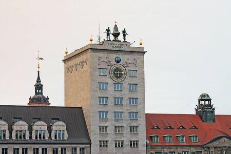 Facade of Kroch-Hochhaus skyscraper in Leipzig. Germany 新闻类图片