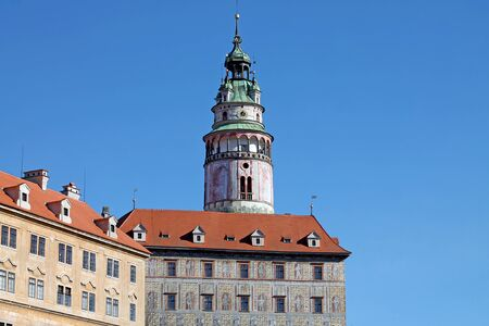 Cesky Krumlov Castle Tower. South Bohemia, Czech Republik. 新闻类图片