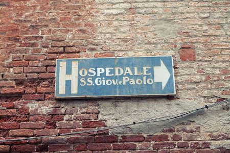 Sign of Hospital SS. Giovanni and Paolo in Venice. Italy 29 february, 2020 year.